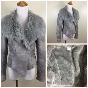 AX ARMANI EXCHANGE Faux Fur Collar Cropped Jacket